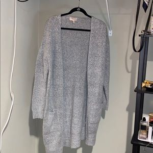 grey long knit sweater with pockets